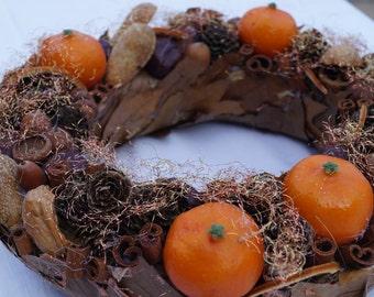 Advent wreath Christmas wreath fall color wreath with tangerines wreath natural handmade wreath holidays wreath wreath with candle