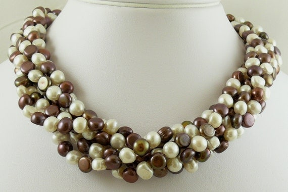 Fresh Water Chocolate & White 7.8 x 5.5mm Pearl Necklace 14k Yellow Gold Clasp