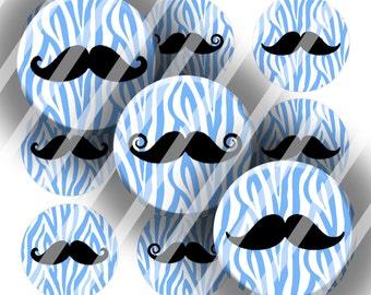 Digital Bottle Cap Collage Sheet - Mustache Zebra Blue - 1 Inch Circles Digital Images for Bottlecaps
