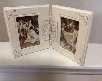 Vintage Elegant Ornate Off White Victorian Hinged Photo Frame / Picture Frame