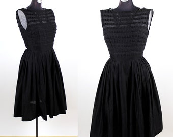 Vintage 1950s R & K Original Little Black Party Dress / xsmall small