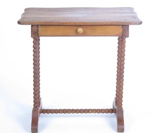 Vintage Small Table Side Stand 1 Drawer Barley Twist Legs Wooden Scalloped  Top