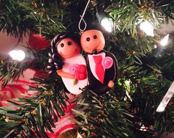 Just Married Bride and Groom Christmas Tree Ornament