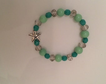 Turquoise Mint & Silver Starfish beaded bracelet