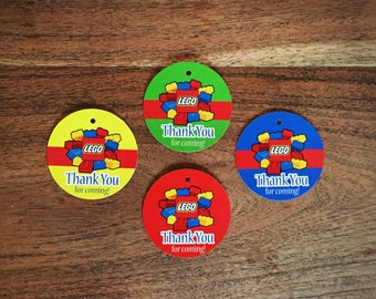 12 Lego Thank you Favor Tags Birthday Party Favor Tags