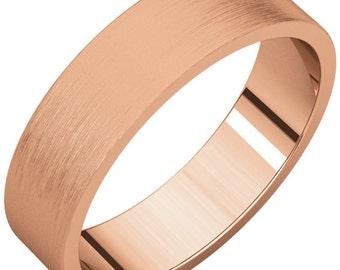 Brushed Finished Rose Gold Wedding Band,Brushed Finished Rose Gold Wedding Ring, Brushed Gold Band, Brushed Gold Ring. Unique Wedding Ring