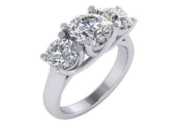 25 carat engagement ring huge engagement ring big 3 stone engagement ring round - Huge Wedding Ring