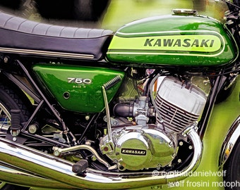 Kawasaki 750 Mach IV Version 1, Metal Prints, Motorcycle Prints, Motorcycle Art, Wall Art, Photography, Prints, Gifts for Him, Home Décor