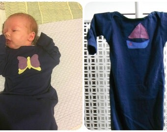 Baby nightshirt 0-5M navy with blue and purple boat Boys 100% cotton fold over cuff and elasticated bottom - New Mother gift