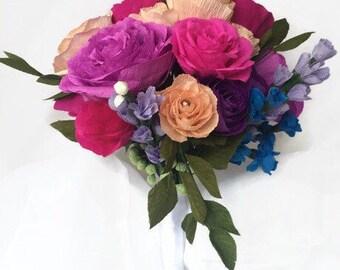 "Colorful Paper Flower Bridal Bouquet, 10"" Premium Crepe Flowers, Keepsake Bride Bouquet, Crystals, Anniversary Flowers, Realistic"