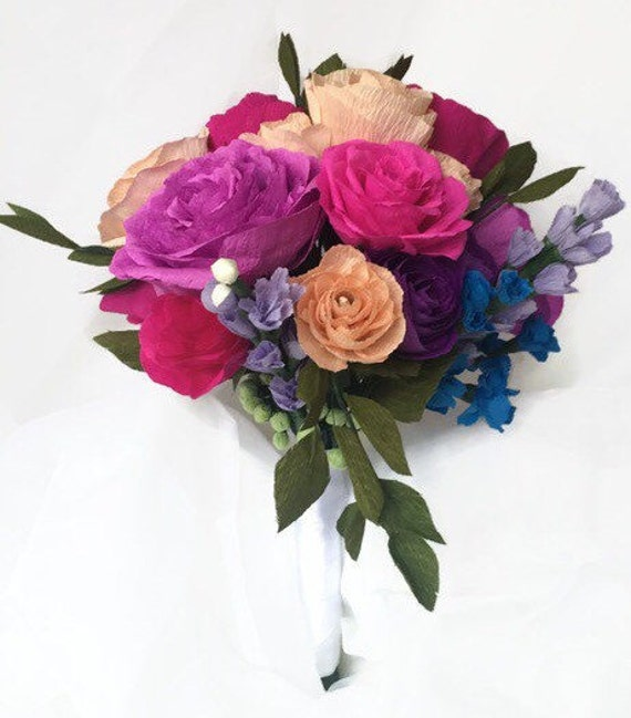 "Colorful Paper Flower Bridal Bouquet, 10"" Premium Crepe Flowers, Keepsake Bride Bouquet, Crystals, Anniversary Flowers, Realistic"