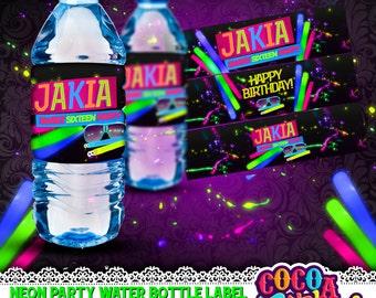 Neon Party Printables Water Bottle Labels, Neon party Printables, Neon Labels, Neon party, glow in the dark party, sweet sixteen