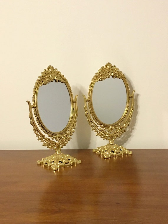 Items similar to set of small ornate mirrors just in for Small baroque mirror