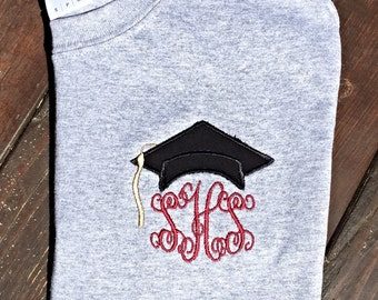 Monogrammed graduation shirt - custom initial grad t-shirt - personalized women's graduation top -high school -college