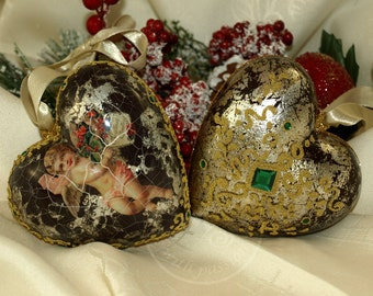 The baroque style heart shaped Christmas balls, Christmas decoration, the Christmas tree decoration, home decoration, decoupage