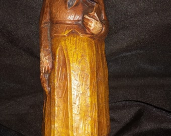Vintage Miniature Wooden Carved Figure- Old Russian Woman