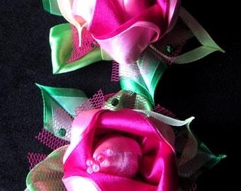 Scrunchy. Pink flowers.  Handmade kanzashi flower scrunchy, flowers scrunchies