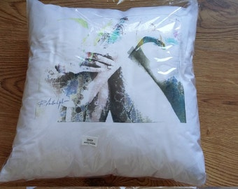 White cushion. Bed pillow. Home decor. Hand printed. Unique gift. By Infected Graphics