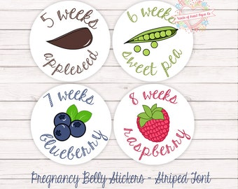 Pregnancy Stickers - Pregnancy Belly Stickers - Weekly Pregnancy Stickers - Pregnancy Weeks - Weekly Stickers - Belly Bump Stickers -