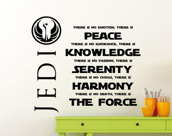 Star Wars Wall Decal Jedi Code Peace Knowledge Serenity Harmony The Force Quote Vinyl Sticker Poster Kids Room Nursery Art Decor Mural 7sw