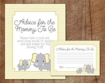 cards and sign yellow and grey elephant baby shower advice cards
