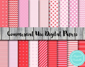 Pink Digital Papers, Pig, Love, Valentines, Instant Download Digital Paper, Commercial Use, Scrapbook Digital Papers, Background, DP22