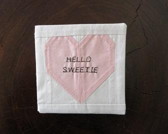 Handmade Fabric Valentines Day Card
