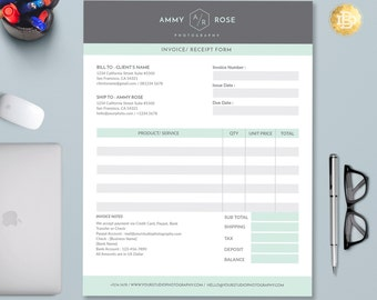 Invoice Template for Photographers, Photography Invoice Receipt Form in MS Word and Adobe Photoshop - INSTANT DOWNLOAD - IRF002