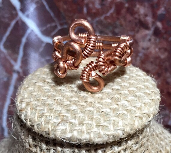 Copper spiral statement ring, copper weaved statement ring, copper rings, expandable copper ring, copper wire ring, wire wrapped copper ring