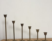6 vintage brass candle holders