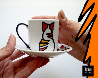 Coffee Cup Saucer & handpainted-Cat-coffee cup and saucer hand painted-Cat-Espresso Coffee-Collectible
