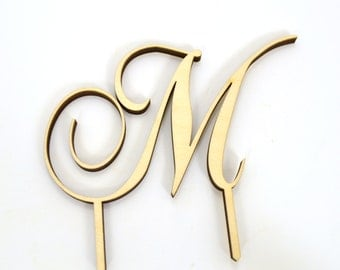 """Wooden Wedding Cake Topper Letter """"M"""" - Choose Any Style, 5 Inches Tall With"""