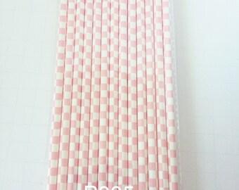 25 PAPER STRAWS  Light Pink