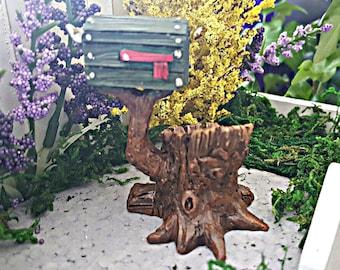 Miniature Tree Stump Mailbox