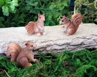 Miniature Baby Squirrels - Set of 3