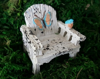 Miniature Chair with Blue and Orange Butterfly