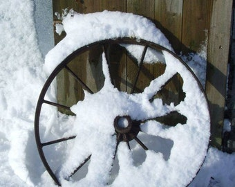 Cart Wheel In Snow, Farm Machinery, Farmyard objects