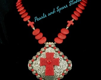 Red Cross Concho Necklace