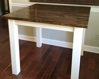 Pub Table/Hand Crafted Pub Table/Counter Height Table/Dark Stained Table/Solid Pine Pub Height Table/Square Pub Table/Rustic Furniture