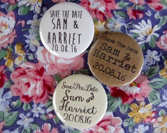 Wedding Badges Save The Date Badge Handmade - Rustic Boho Wedding - Pin Button