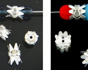 Silver Double Bead Caps with Rhinestones - 6mm and 8mm