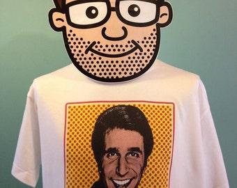 Happy Days - Fonz / Fonzie / Henry Winkler Pop Art T-Shirt (Aayyy!) White Shirt