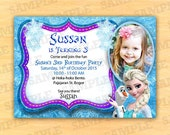 Frozen birthday invitations printable, frozen invitation with photo, Frozen Thank You Cards, frozen  invitation, Party Instant