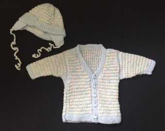 Hand Knit Baby Sweater - Baby Boy Cardigan with Matching Hat - Perfect for Baby Showers/New Mom - Baby Clothing - Knit Sweater -