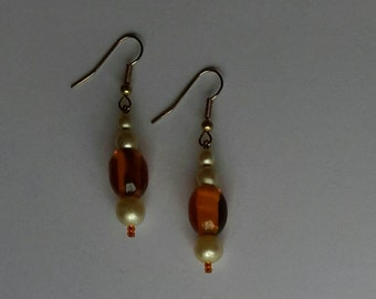 Pearl and amber bead earrings