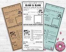Custom Printable Wedding Mad Lib // Premade // Funny // Advice // Guest Book