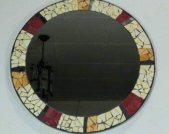 vintage mirror with mosaic frame mid century 50s