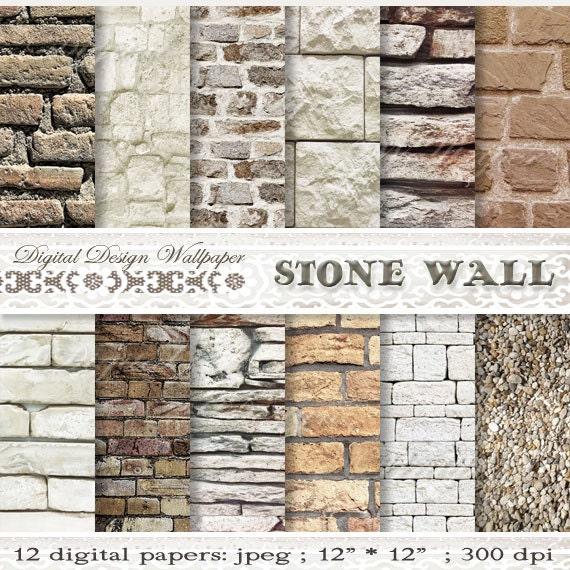 Paper Stone Walls : Commercial usebrick wallpaper digital paper packbrick