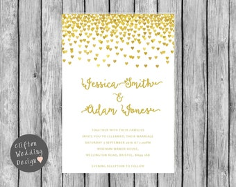 Gold Hearts Wedding Invite - DIY Digital Download