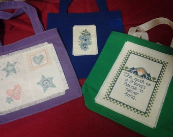 Cross Stitched Gift Bags